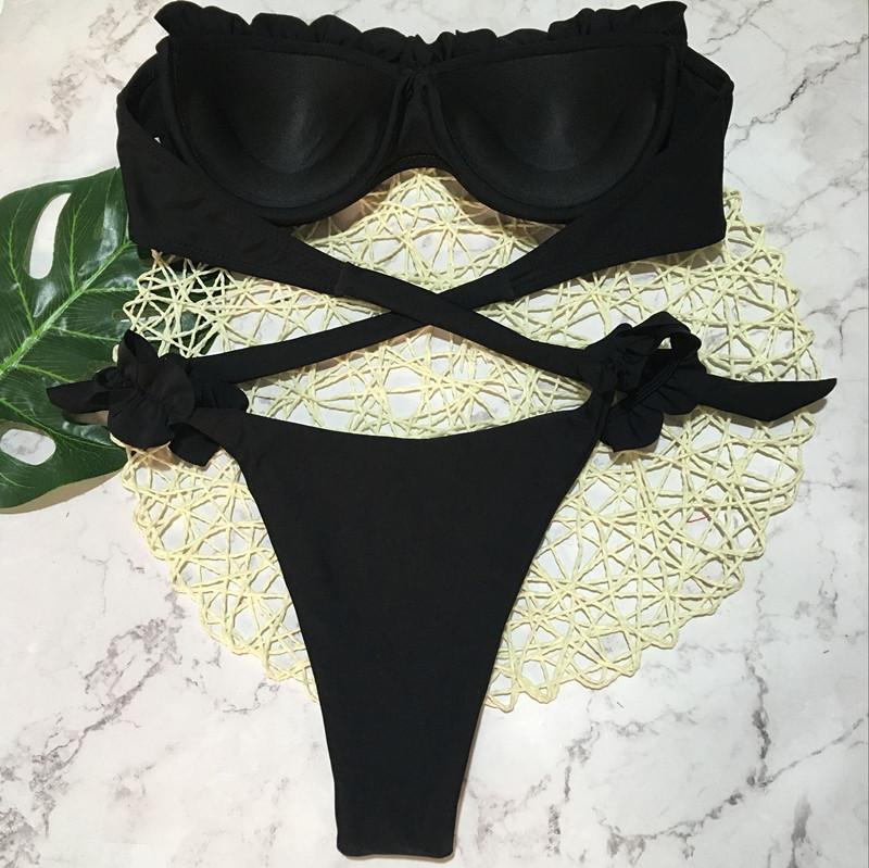 Padded Push Up Bikini Set Underwire Flower Ruffles Swimsuit For Women Sexy Solid Bandeau Female Bathing Suit 18 Summer Biquini 17