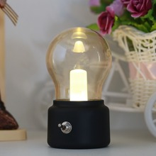 2017 New1Pc Metal Lever Switch Bulb Lamp Rechargeable Battery Night Light USB LED Lamp