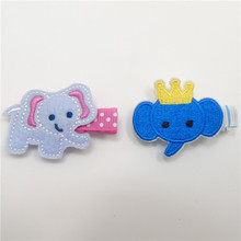 10pcs/lot Blue Elephant Hair Clips with Crown No Slip Character Animal Hairpin Girl Dots Kid Cute Barrettes Grey Elephant Grips