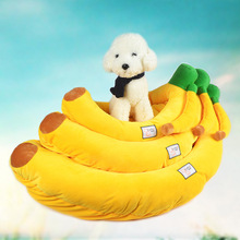 Soft Warm Puppy Pet Bed banana Sofa Cushion Lace oval kennel Pad Christmas Gift Home Use B2195(China)