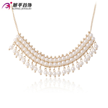 Xuping Fashion Necklace New Design Pearl Necklace Gold Color Plated Necklace Women Men Chain Jewelry Top Sale Gift 42667