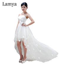 Lamya Sexy Front Short Long Back Wedding Dress Real Photos Strapless Sweet Tulle Vestidos De Novia Boho Beach Bridal Gown(China)