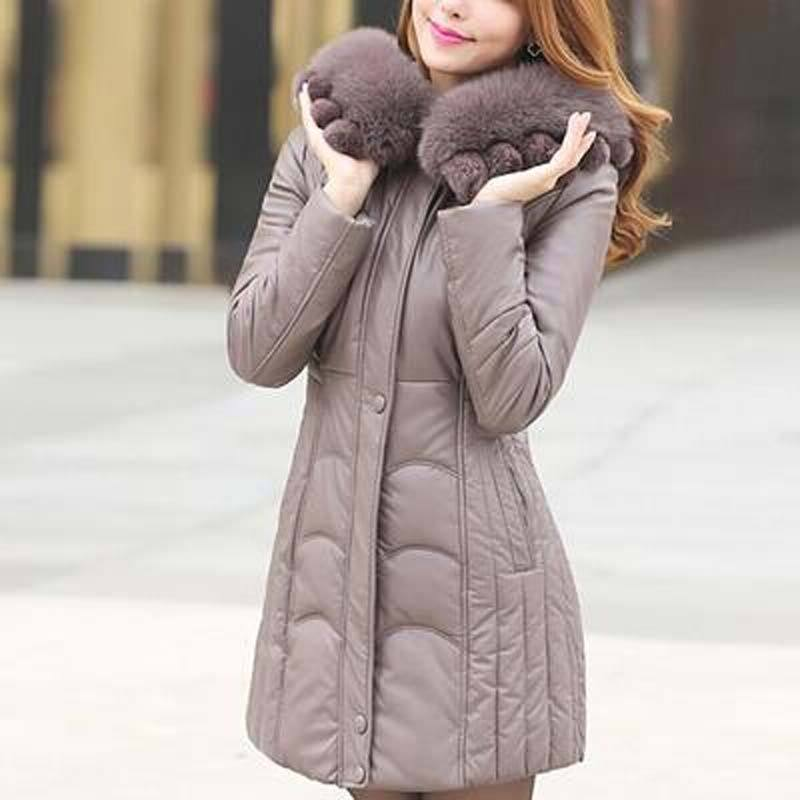 Plus size X L -6XL women leather coat winter down jacket female large fur collar hooded parka medium-long mother clothing FLM602Одежда и ак�е��уары<br><br><br>Aliexpress