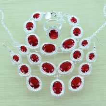 925-Sterling-Silver Red Garnet Jewelry Sets Silver Bracelets/Drop Earrings/Ring/Necklace/Pendant For Women Jewery Box