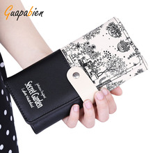 Guapabien Women Gift Clutch Wallet PU Leather Print Purses Hasp Long Wallet Female Money Bags Handbag Carteras Mujer Monederos