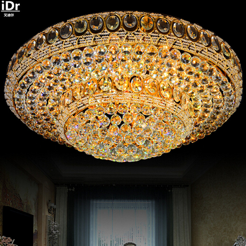 Gold Round Crystal Lamp Golden LED Lights Living Room Bedroom Modern High Quality Ceiling