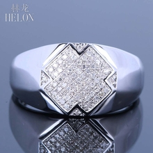 HELON Men's Genuine Diamonds Band Pinky Ring Sterling Silver 925 Pave Set Diamonds Wedding Engagement Band Ring Men's Jewelry(China)