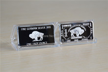 Free Shipping 5pcs/lot 1 Troy oz German Buffalo Silver Bar