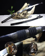 Top Quality Handmade Katana Sword T10 Steel Blade Clay Tempered Wood Scabbard Wrapped With Silk Dragon Brass Tsuba(China)