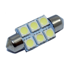 10pcs Xenon White 31mm 36mm 39mm 41mm  Festoon 5050 SMD 6 LED C5W Car Led Auto  Light Lamp Bulb 12V Work Lamp