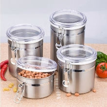 Stainless Steel Airtight Sealed Canister Coffee Flour Sugar Tea Container Holder FP8(China)