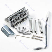 1 Set Chrome 6 Strings Guitar Tremolo Bridge With Bar For Strat