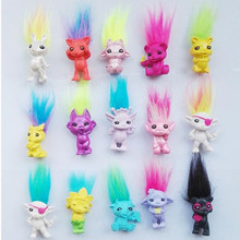 50pcs/lot Mini Size Trolls Pencil Topper Dreamworks Movie Trolls Dolls Poppy Branch Action Figures Model PVC Toy