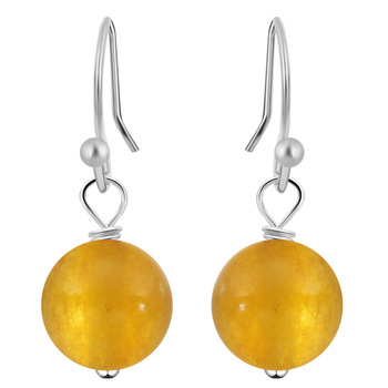 Natural Stone Hook Earring Purple Yellow Color Selectable Ball Earrings for Women Designer Earrings Jewelry Accessory