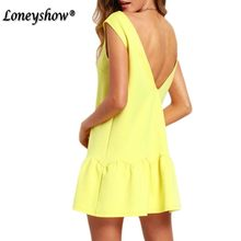 Loneyshow High Quality Products Short Summer Dress Women Casual 2017 New Solid O Neck Mini Bodycon Elegant Ruffle Dress