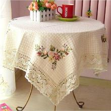 Home hotel dining/wedding Handmade Lace Embroidery Tablecloth Jacquard Floral Round Tablecloth Table covers made to order