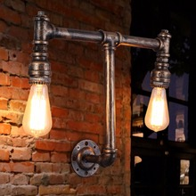 Wall Lamp Vintage Style Rust Color Water Pipe Wall Lamp Cafe Shop Pipe Light Bars Light Bedroom Room Light(China)