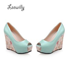 Lsewilly 2017 Spring Print Platform Design Woman Shoes Sweet Leisure Fashion Peep Toe Super High Wedges Heel Women Pumps ty042