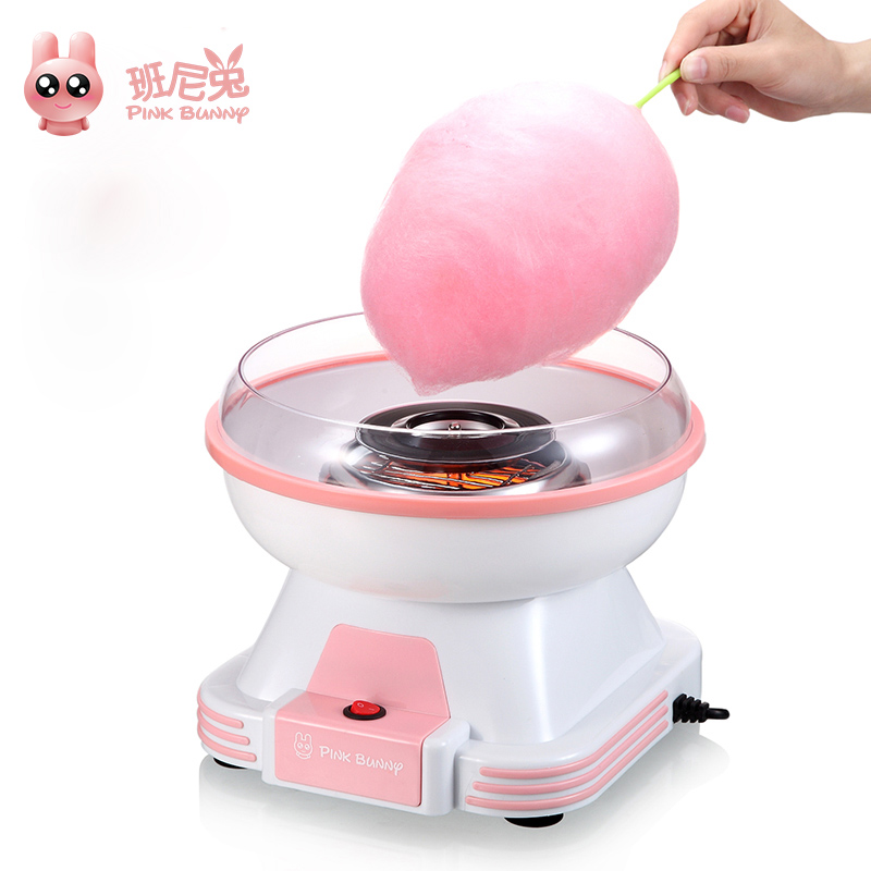 Pink Bunny Electric Cotton Candy Maker Mini Portable DIY Sweet Machine For Cotton Candy Household Food Processors Children Gift<br>