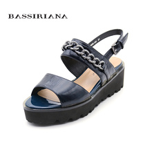 Patent leather sandals woman 2017 Casual Medium Wedges Black Blue Shoes woman Free shipping BASSIRIANA(China)