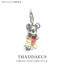 Cartoon Mouse Playing Football Soccer Charm Pendant Fashion European Silver Plated Fit Thomas Charm Bracelet For Women & Men(China)