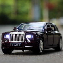 1:24 free shipping Rolls-Royce Phantom Alloy Diecast Car Model Pull Back Toy Car model Electronic Car with light&sound Kids Toys
