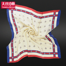 60*60cm 2017 Small Size Twill Silk Square Bandana Women Luxury Brand Foulard Scarf Solid Silk Printing Satin Scarves Shawl Hijab