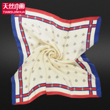 60*60cm 2017 Small Size Twill Silk Square Bandana Women Luxury Brand Foulard Scarf Solid Silk Printing Satin Scarves Shawl Hijab(China)