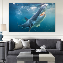 GenDi Wall Art Canvas Painting Animal Mediterranean Oil Painting Shark Akula Blue Sea Landscape Home Decor For Living Room