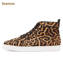 Unisex Casual Sneakers Luxury Designer Leopard Horsehair High Top Bottom  Boots Flat Platform Fashion Lace-up Brand Shoes Men ab7e73f0bda9
