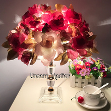 Simple modern luxury crystal rose light table lamp creative Korean bedroom bedside wedding room table lamp gift(China)