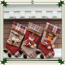 Snowman Christmas Stockings Candy Bag Classic Retro Santa Sack Cute Santa's Toys Stockings Christmas Day Decoration JSD-0012
