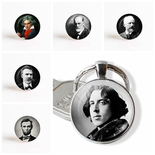 Famous People Oscar Wilde Sigmund Freud Beethoven Lincoln Portrait Glass Dome Keychain Bag Pendant Fashion Key Rings(China)