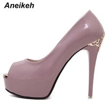 Aneikeh Sexy Women Pumps 2018 New High Heels Shoes Woman Open Toe Platform Patent Leather Pumps Shoes Size 34 - 39 188-81#(China)