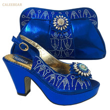 2017 New Arrival Design Italian Shoes With Matching Bags Set Nice Quality African Shoes And Bag Sets With Rhinestones Blue
