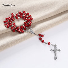Three color 6mm 59 beads 70cm Brand necklaces Pray rosary religious beads jewelry necklace Jesus jewelry Factory sell