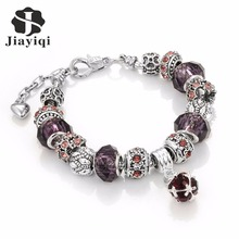 Jiayiqi 2016 Snake Chain Charm Bracelet Vintage Authentic Tibetan Silver Jewelry for Women Fashion DIY Crystal Beads Bangles