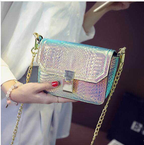 2017 New Womens Handbag Hologram Bag Laser Silver Shoulder Bag Serpentine Leather Shinning Bag Free Shipping <br><br>Aliexpress