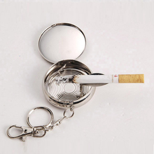 432pcs/lot Pocket Stainless Steel Portable Round Cigarette Ashtray With Keychain ,Mini Cigarette Ashtray,metal display box(China)