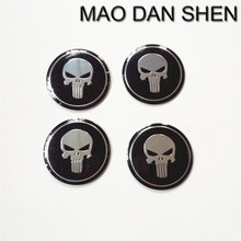 4 * 56mm Black Skull The Punisher CAR Wheel Emblem For Derivative Sticker Badge