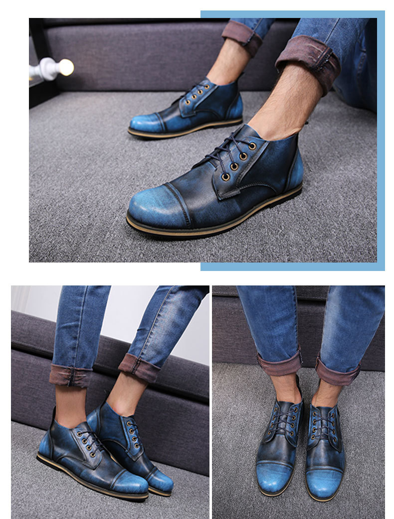 COSIDRAM Plus Size 47 Men Boots Genuine Leather High Top Men Shoes Fashion Ankle Boots For Men Winter Shoes Male Botas RMC-082 10