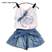 New 2017 brand summer baby girl clothing sets fashion Cotton print shortsleeve T-shirt and skirts girls clothes sport suits(China)