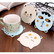 Non-slip Wooden Cat Creative Place Mat/office Supplies Coffee Cup Mat Home Decor DIY Handmade Animal Shapes(China)