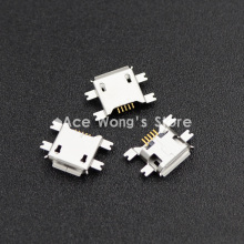 10pcs 5pin Female Micro USB Connector, SMD 4 Fixed feet, Widely used in tablet, phones and PDA(China)