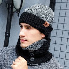Mens Winter Hats Scarves Gloves Set Wool Knitted Scarf Ring Women Neck Warmer Patchwork Snow Caps Touch Screen Gloves (China)