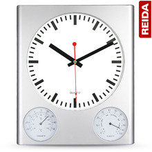 REIDA Brand 10 Inch Large Wall Clock Creative Living Room Bedroom Home Decor Clock Thermometer Hygrometer Quartz Clock