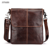 Handbags Cowhide Genuine Leather Men Bags Fashion Men Shoulder Crossbody Bags Ipaid Messenger Bag Man Leather Men's Travel Bag(China)