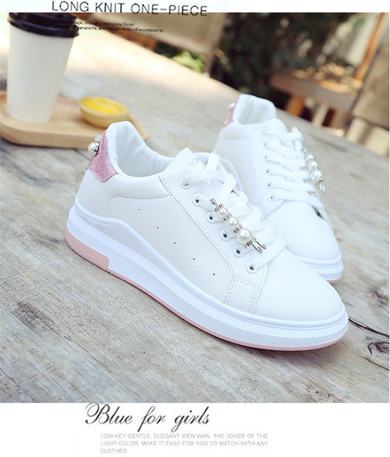 MEIL ladies shoes woman white sneakers platform shoes lace-up non-slip zapatos mujer flat shoes women round toe sapatos