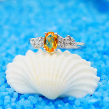 Oval Citrine Rings for Women 925 Sterling Silver Ring Trendy Crystal jewelry Girls Party Gifts Engagement Wedding Rings(China)