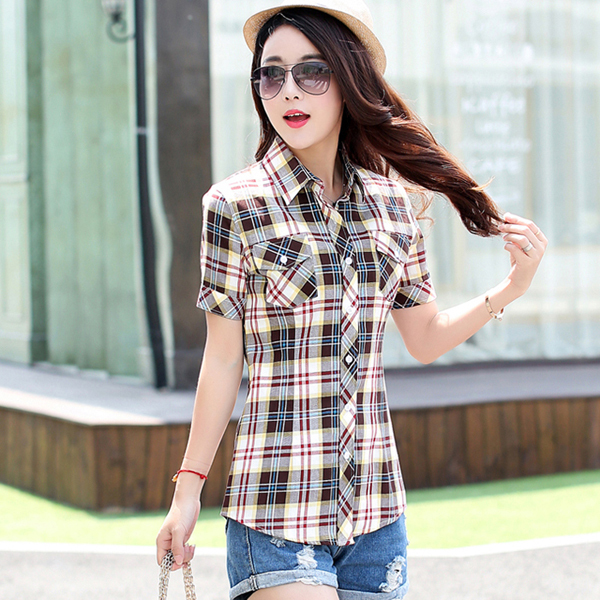 Online Fashion 2017 Summer Short Sleeve Women S Plaid Blouses With Pockets Casual Las Beautiful Shirt Tops For Xs M C1m Aliexpress Mobile